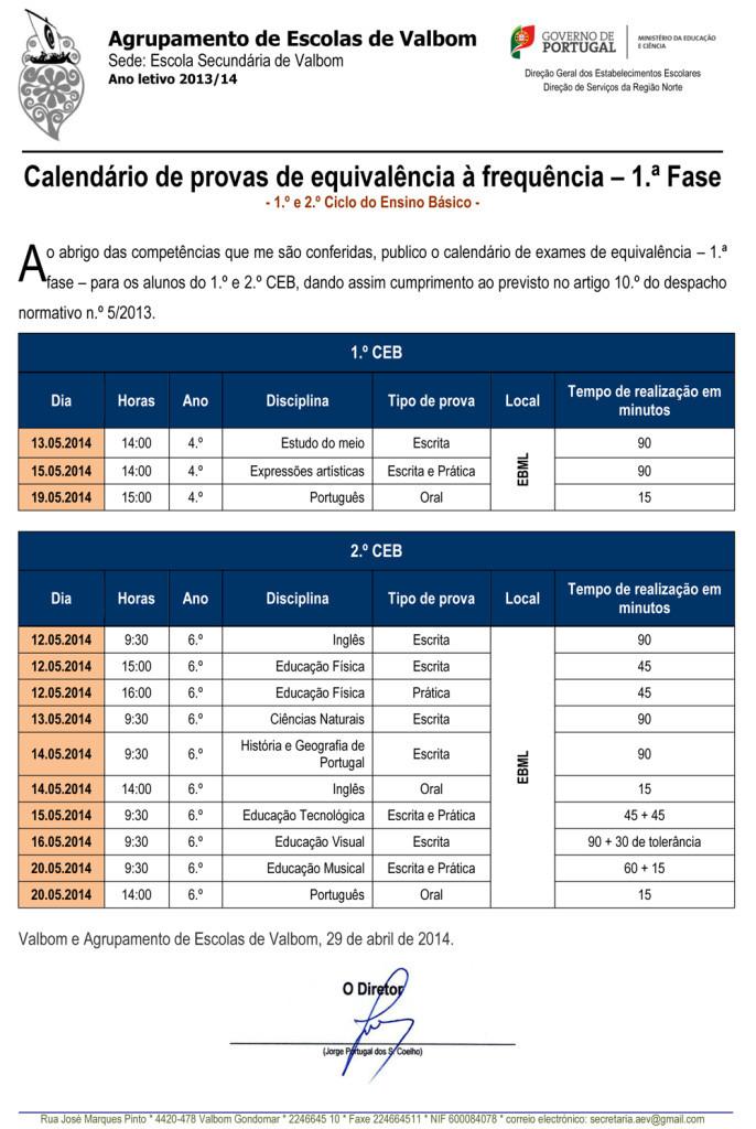Calendário de provas de equivalência à frequência